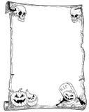 Перечень рамки хеллоуина с тыквами Стоковые Фото