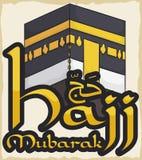 Перечень с дизайном Kaaba и золотой знак для паломничества хаджа, иллюстрации вектора Стоковое фото RF