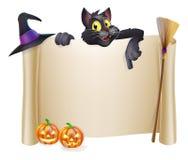 Перечень хеллоуина с котом Стоковое Изображение RF