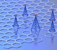 Передатчики цифров посылают сигналы от высокой башни Стоковое Изображение RF