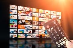 Передача телевидения стены мультимедиа видео- Стоковая Фотография