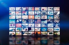 Передача телевидения стены мультимедиа видео- Стоковое Изображение