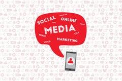 Передвижная и онлайн концепция маркетинга иллюстрация вектора