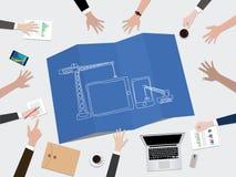 Передвижная иллюстрация концепции конструкции разработки приложений apps с командой руки работает совместно na górze таблицы Стоковая Фотография
