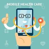 Передвижная концепция здравоохранения и медицины иллюстрация штока