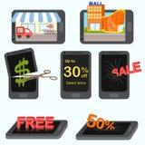 Передвижная концепция маркетинга и финансов применения бесплатная иллюстрация