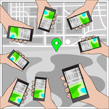 Передвижная концепция навигации GPS иллюстрация штока