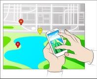 Передвижная концепция навигации GPS иллюстрация вектора
