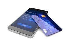 Передвижная концепция оплаты, Smartphone с кредитной карточкой иллюстрация 3d иллюстрация штока
