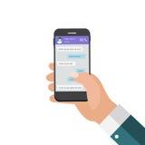 Передвижная рука концепции Apps держа телефон принципиальная схема цифрово произвела высокий social res сети изображения иллюстрация вектора