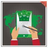 Передвижной банк банковского трансфера телефона значка таблетки установленный онлайн Стоковое Фото