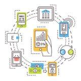 Передвижной банк, онлайн оплаты Тонкая линия плоская Стоковые Изображения