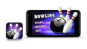 Передвижной значок игры Значок игры боулинга Передвижной игровой дизайн Иллюстрация искусства зажима вектора Стоковые Изображения RF
