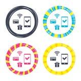 Передвижной значок оплат Smartphone, кредитная карточка Стоковые Изображения