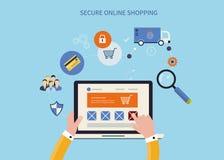 Передвижной маркетинг и онлайн покупки иллюстрация штока