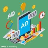 Передвижной маркетинг, цифровая концепция вектора рекламы иллюстрация вектора