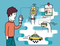 Передвижной app для записывая такси бесплатная иллюстрация