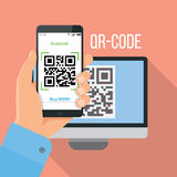 Передвижной app для просматривая QR-кода Стоковое Фото