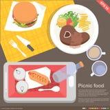Передвижные варить применения и концепция еды иллюстрация вектора