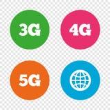 Передвижные значки радиосвязей 3G, 4G и 5G Стоковая Фотография RF