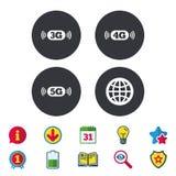 Передвижные значки радиосвязей 3G, 4G и 5G иллюстрация штока