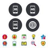 Передвижные значки радиосвязей 3G, 4G и 5G Стоковые Изображения RF