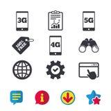 Передвижные значки радиосвязей 3G, 4G и 5G Стоковое фото RF