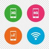 Передвижные значки радиосвязей 3G, 4G и LTE Стоковая Фотография