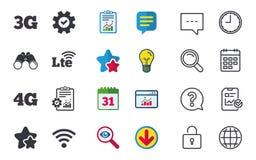 Передвижные значки радиосвязей 3G, 4G и LTE Стоковые Изображения