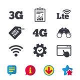 Передвижные значки радиосвязей 3G, 4G и LTE Стоковое Изображение RF