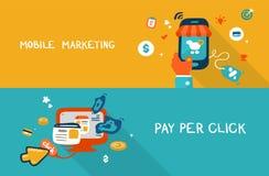 Передвижные маркетинг и оплата в щелчок Стоковое Изображение RF