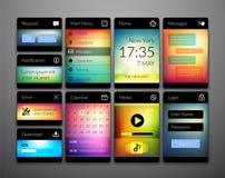 Передвижные элементы интерфейса с красочными обоями Стоковое Изображение RF