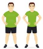Перед и после человеком диеты иллюстрация вектора