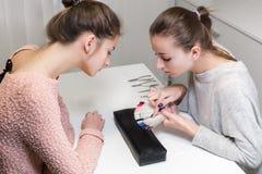 Перед маникюром цвета девушки маникюра отборным Стоковая Фотография