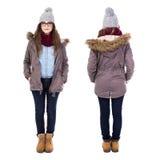 Передний и задний взгляд молодой женщины в одеждах зимы изолированных дальше Стоковая Фотография RF