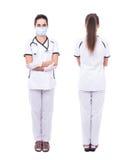 Передний и задний взгляд доктора женщины в маске изолированной на белизне Стоковые Фотографии RF