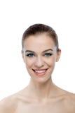 Передний портрет усмехаясь женщины с стороной красоты Стоковые Изображения RF