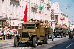 Передний план тележки ZIS-5V автомобилей времени WW2 парада советских День 9-ое мая победы Celebratation Стоковая Фотография RF