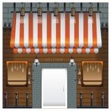 Передняя древесина окна кофейни и лампы кирпича двери Стоковые Изображения RF