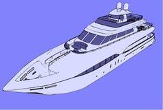 передняя яхта взгляда вектора Стоковое Изображение