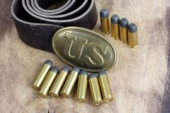 Период гражданской войны пряжки пояса США с патронами револьвера Стоковое Изображение RF