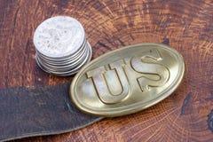 Период гражданской войны пряжки пояса США с серебряным долларом Стоковая Фотография
