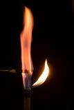 Перманганат калия горя в воздухе с пламенем сирени Стоковое Изображение