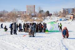Пермь, Россия - 11-ое марта 2017: Конкуренции рыболовов Стоковое Изображение RF