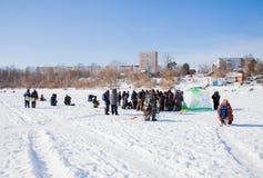 Пермь, Россия - 11-ое марта 2017: Конкуренции рыболовов Стоковая Фотография RF