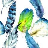 Перо птицы акварели от крыла Безшовная картина предпосылки Текстура печати обоев ткани Стоковые Изображения RF