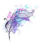 Перо с бабочками Стоковое Фото