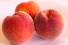 3 персика на белизне Стоковая Фотография RF
