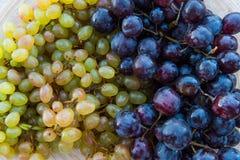Персики и виноградины в плите на таблице Стоковые Изображения