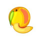 Персик и кусок Значок шаржа Стоковая Фотография